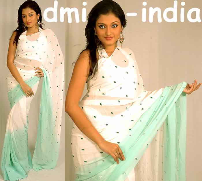 White Mint Silk Sari